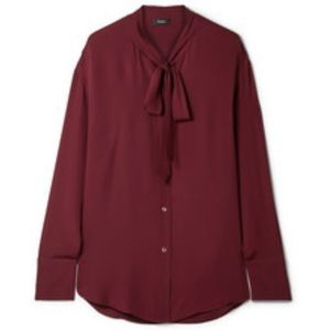 Theory Weekender Tie-Neck Blouse